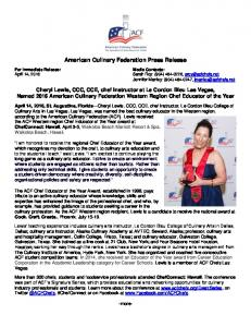 American Culinary Federation Press Release