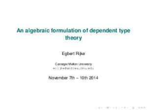 An algebraic formulation of dependent type theory -
