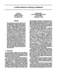 An Efficient Reduction of Ranking to Classification - Semantic Scholar