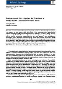 An Experiment of Hindu‐Muslim ... - Wiley Online Library