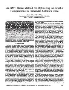 An SMT Based Method for Optimizing Arithmetic Computations in ...