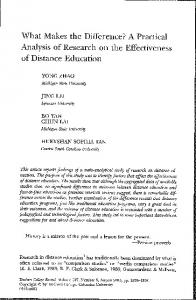 Analysis of Research on the Effectiveness of Distance ...