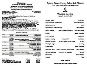 Apison Seventh-day Adventist Church Worship Service