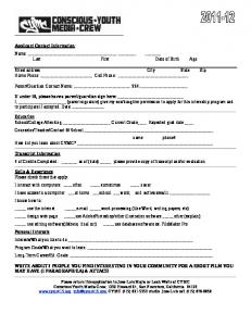 Applicant Contact Information -