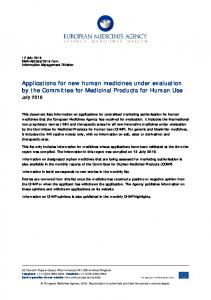 Applications for new human medicines under evaluation by the ...