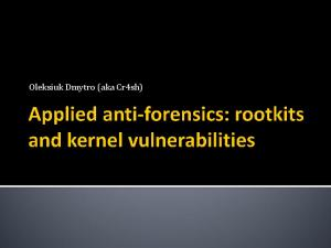 Applied anti-forensics