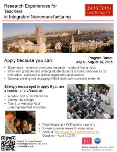 Apply because you can: Research Experiences for ... -
