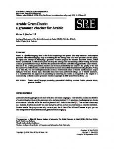 Arabic GramCheck: a grammar checker for Arabic - Wiley Online Library