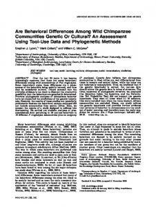 Are behavioral differences among wild ... - Semantic Scholar