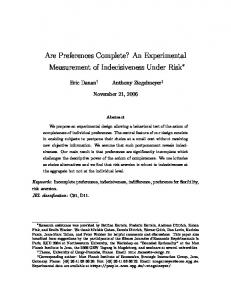 Are Preferences Complete? An Experimental ...