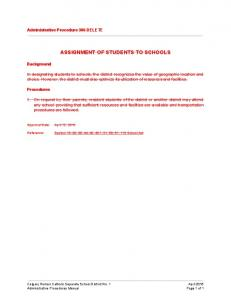ASSIGNMENT OF STUDENTS TO SCHOOLS