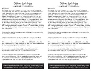 At Home Study Guide At Home Study Guide