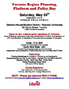 Attention All Liberals Members in Toronto Region