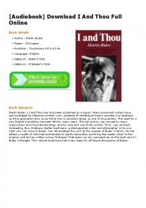 [Audiobook] Download I And Thou Full Online