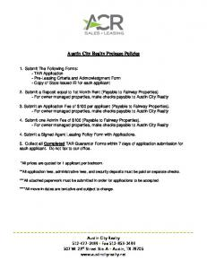 Austin City Realty Prelease Policies - Groups