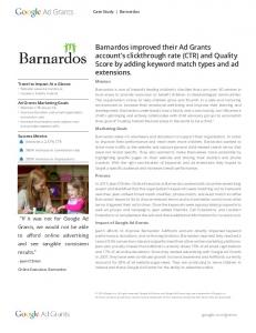Barnardos improved their Ad Grants account's clickthrough rate