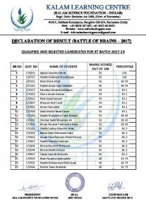 BATTLE OF BRAINS - 2017 RESULT (Qualified & Selected ...