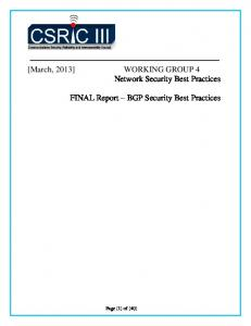 BGP Security Best Practices - The Alliance for Telecommunications ...