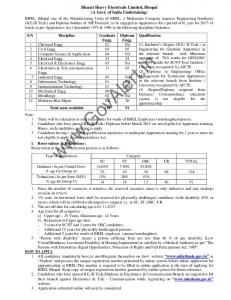 Bharat Heavy Electricals Limited Bhopal Recruitment 2017 ...
