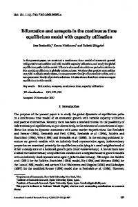 Bifurcation and sunspots in the continuous time ... - Wiley Online Library