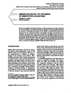 Bigger and safer: the diffusion of competitive ... - Wiley Online Library