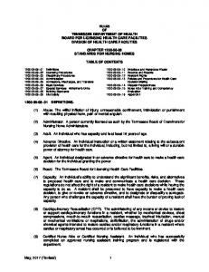 Board for Licensing Health Care Facilities