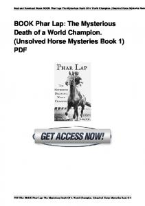 BOOK Phar Lap: The Mysterious Death of a World ...