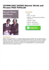 BOOKS Masonic Words and Phrases FREE POPULAR