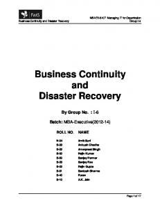Business Continuity and Disaster Recovery -