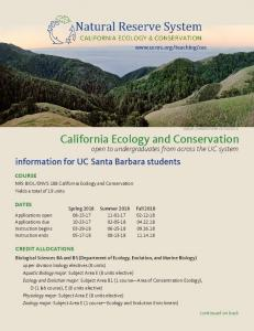 California Ecology and Conservation -