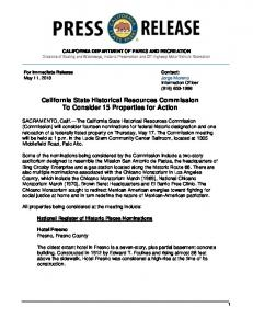 California State Historical Resources ... - California State Parks