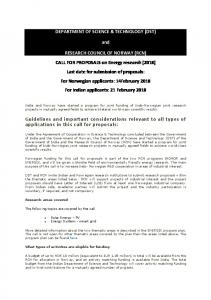 CALL FOR PROPOSALS on Energy research (2018) - DST