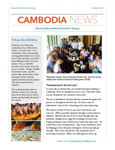 Cambodia newsletter October 2015