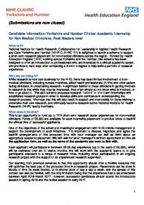 Candidate Information Yorkshire and Humber Nursing and ...