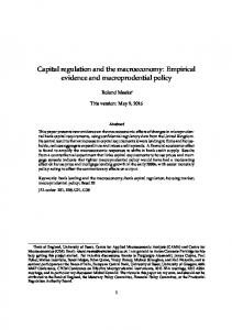Capital regulation and the macroeconomy: Empirical ...