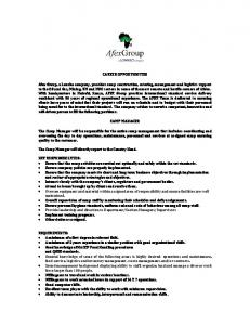 CAREER OPPORTUNITIES Afex Group, a Lonrho ... -