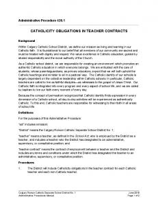 CATHOLICITY OBLIGATIONS IN TEACHER CONTRACTS