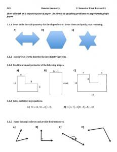 CCG Honors Geometry 1st Semester Final Review #1 ...