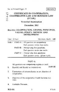 (CCLBL) Term-End Examination December, 2013 BLE ...