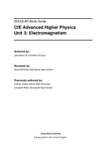 CfE Advanced Higher Physics Unit 3: Electromagnetism