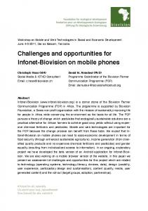Challenges and opportunities for Infonet-Biovision on mobile phones