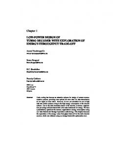 Chapter 1 LOW-POWER DESIGN OF TURBO ...