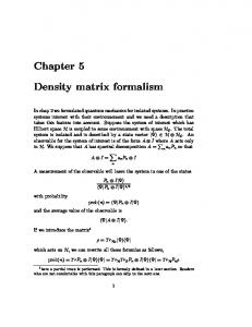 Chapter 5 Density matrix formalism