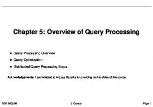 Chapter 5: Overview of Query Processing