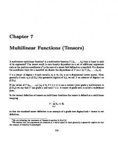 Chapter 7 Multilinear Functions (Tensors) -