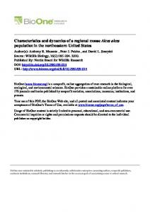 Characteristics and dynamics of a regional moose Alces alces 2010 ...
