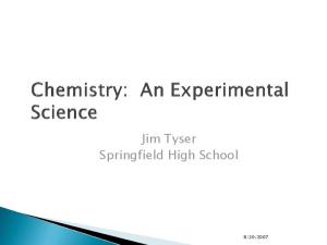 Chemistry: An Experimental Science