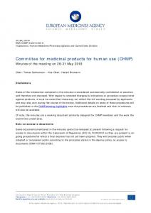 CHMP May 2018 minutes for publication - European Medicines Agency