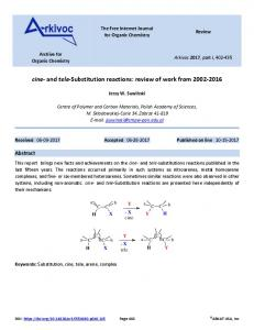 cine- and tele-Substitution reactions - Arkivoc