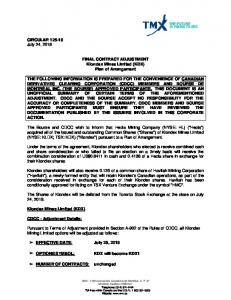 CIRCULAR 125-18 July 24, 2018 FINAL CONTRACT ADJUSTMENT ...